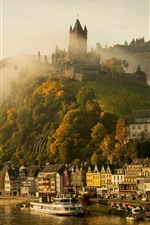 Preview iPhone wallpaper Germany, Cochem, castle, river, houses, mountain, fog