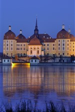 Preview iPhone wallpaper Germany, Saxony, Moritzburg Castle, night, lake, lights