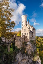Preview iPhone wallpaper Germany, castle, trees, autumn, cliff