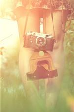 Garota, pernas, câmera, grama, nebuloso, luz do sol