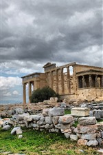 Preview iPhone wallpaper Greece, ruins, stones, clouds