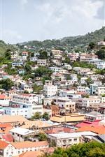 Grenada, city, houses, mountains, sea