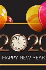 Preview iPhone wallpaper Happy New Year 2020, colorful balloons, clock