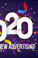 Feliz ano novo 2020, parabéns, colorido