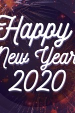 Preview iPhone wallpaper Happy New Year 2020, fireworks background