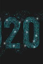 Feliz ano novo 2020, vidro, criativo, estrelas