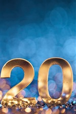 Preview iPhone wallpaper Happy New Year 2020, golden numeric, light circles