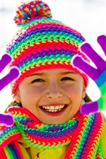 Preview iPhone wallpaper Happy little girl, rainbow color, coat, hat, scarf, glove