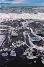 Preview iPhone wallpaper Iceland, foam, coast, sea
