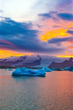 Preview iPhone wallpaper Iceland in autumn, ice, sea, snow, sunset