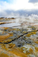 Preview iPhone wallpaper Iceland, puddle, fog, nature scenery