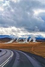 Preview iPhone wallpaper Iceland, road, smoke, clouds, autumn