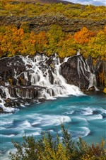 Preview iPhone wallpaper Many waterfalls, Iceland, beautiful nature landscape