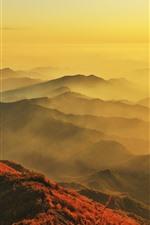 朝、山、トップビュー、霧、太陽光線