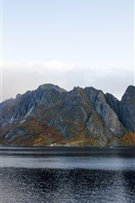 Preview iPhone wallpaper Mountains, bay, Norway, nature landscape