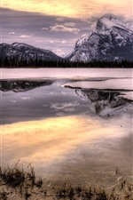Preview iPhone wallpaper Mountains, snow, winter, lake, forest, water reflection