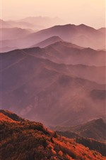 Preview iPhone wallpaper Mountains, sun rays, fog, autumn
