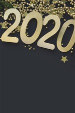 Preview iPhone wallpaper New Year 2020, golden style, gift, stars, jewels