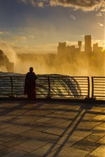 Preview iPhone wallpaper Niagara Falls, morning, fog, sunrise, city, USA