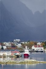 Preview iPhone wallpaper Norway, bay, town, mountains