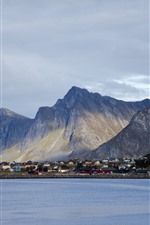 Preview iPhone wallpaper Norway, city, houses, mountains, bay, clouds