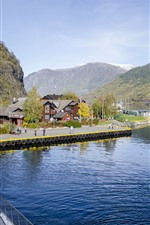 Norway, houses, bay, mountains, road, people