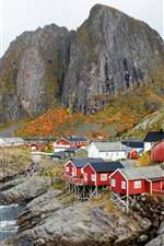 Norway, houses, village, sea, coast, mountains