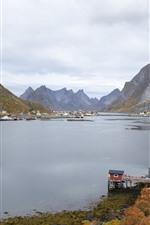 Aperçu iPhone fond d'écranNorvège, montagnes, baie, ville, nuages