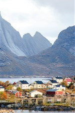 Norway, mountains, clouds, houses, village, coast