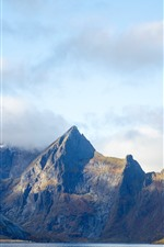 Preview iPhone wallpaper Norway, mountains, fog, clouds, sea
