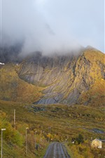 Preview iPhone wallpaper Norway, mountains, fog, road, village