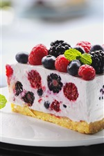 Preview iPhone wallpaper One piece of cake, raspberry, blackberry, blueberry, fork