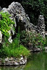 Preview iPhone wallpaper Park, rocks bridge, pond, green