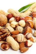 Peanuts, walnuts, hazelnuts, almonds, pistachios, nuts, white background