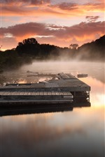 Pier, river, fog, morning, clouds, trees