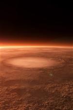 Planeta, crateras, sol, espaço