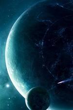 Planetas, espaço, anéis de luz