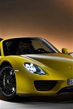 Preview iPhone wallpaper Porsche Spyder yellow supercar