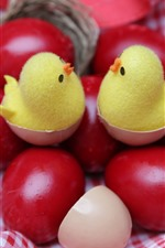 Red Easter eggs, chicks