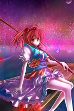 Red hair anime girl, boat, pier, magic, night