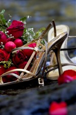 Preview iPhone wallpaper Red roses and shoes, heels, romantic
