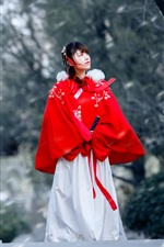 Preview iPhone wallpaper Retro style Chinese girl, hanfu, bridge