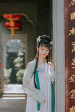 Preview iPhone wallpaper Retro style girl, hanfu, fan, gate
