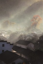 Preview iPhone wallpaper Shicheng, village, houses, sun rays, hazy, morning, China