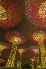 Preview iPhone wallpaper Singapore, marina bay gardens, light, night