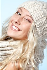 Preview iPhone wallpaper Smile blonde girl, hat