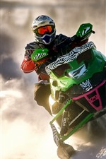 Preview iPhone wallpaper Snowmobile, sports, snow, smoke