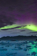 Preview iPhone wallpaper Starry, sky, northern lights, clouds, sea, mountains, Iceland