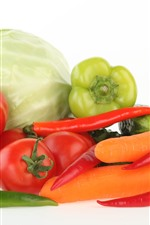 Preview iPhone wallpaper Tomatoes, carrots, peppers, cabbage, vegetables