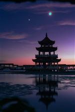 Preview iPhone wallpaper Tongyi Jiayuan, lake, gazebo, moon, Wuxi, China